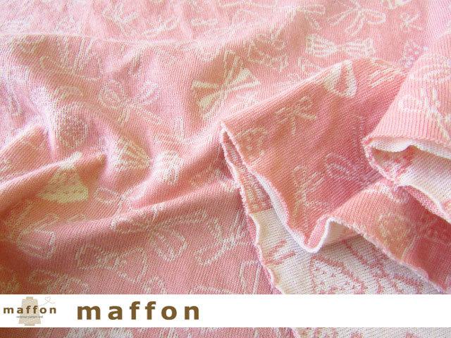 【 maffon (マフォン) 】 約75cm幅 リバーシブルジャガード接結ニット 『 リボンリボン柄 』  コーラルピンク/アイボリー