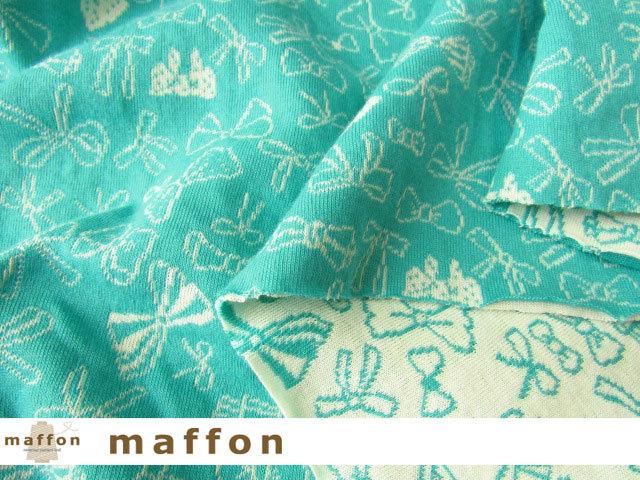【 maffon (マフォン) 】 約75cm幅 リバーシブルジャガード接結ニット 『 リボンリボン柄 』  エメラルド/アイボリー