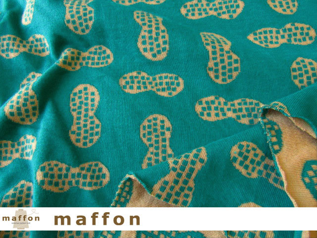 【 maffon (マフォン) 】 約75cm幅 リバーシブルジャガード接結ニット 『 ピーナッツ柄 』  ピーコック/くるみ