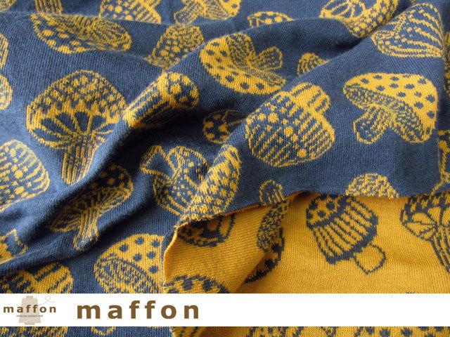 【 maffon (マフォン) 】 約75cm幅 リバーシブルジャガード接結ニット 『 きのこ柄 』  ジェイブルー/コルク