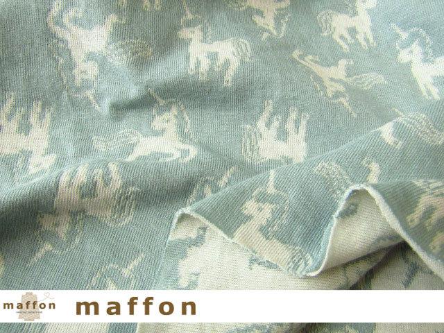 【 maffon (マフォン) 】 約75cm幅 リバーシブルジャガード接結ニット 『 ユニコーン柄 』  カデットブルー/アイボリー