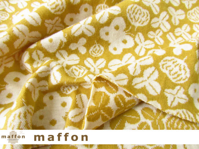 【 maffon (マフォン) 】 約75cm幅 リバーシブルジャガード接結ニット 『花とちょうちょ柄 』  ミモザ/アイボリー