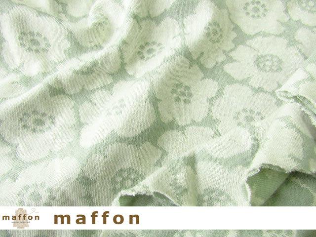 【 maffon (マフォン) 】 約75cm幅 リバーシブルジャガード接結ニット 『 ミニアネモネ柄 』  オフミント/アイボリー