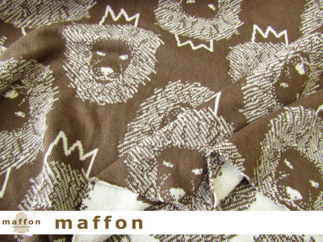 【 maffon (マフォン) 】 約75cm幅 リバーシブルジャガード接結ニット 『 ライオン柄 』 ブロンズ/アイボリー