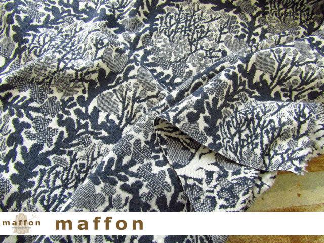 【 maffon (マフォン) 】 約75cm幅 リバーシブルジャガード接結ニット 『 ウィード柄 』  杢ネイビー/アイボリー