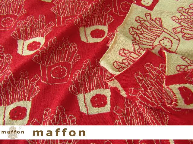 【 maffon (マフォン) 】 約75cm幅 リバーシブルジャガード接結ニット 『 ポテト柄 』  赤/コムギ