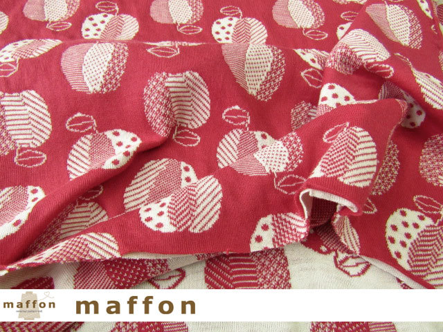 【 maffon (マフォン) 】 約75cm幅 リバーシブルジャガード接結ニット 『 りんご柄 』  ルージュ/アイボリー