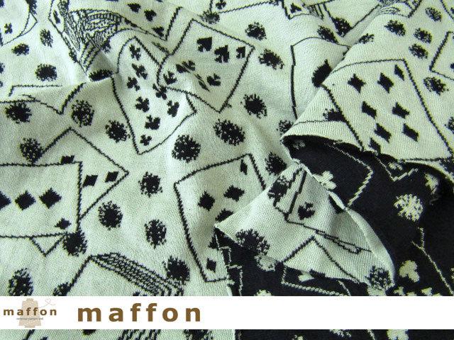 【 maffon (マフォン) 】 約75cm幅 リバーシブルジャガード接結ニット 『 トランプ柄 』  すみぐろ/オフミント