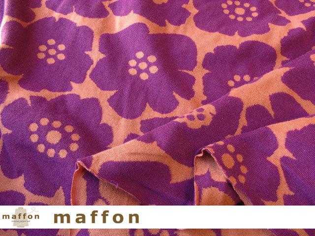 【 maffon (マフォン) 】 約75cm幅 リバーシブルジャガード接結ニット 『 アネモネ柄 』  パープル/レンガ