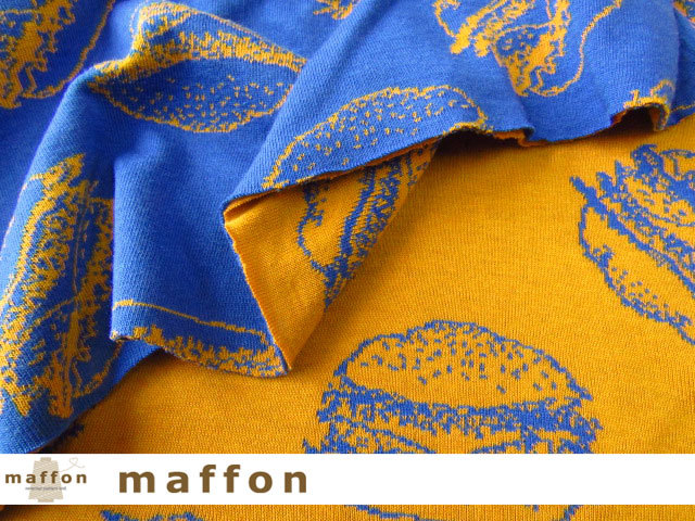 【 maffon (マフォン) 】 約75cm幅 リバーシブルジャガード接結ニット 『 ハンバーガー柄 』 ブルー/コニャック