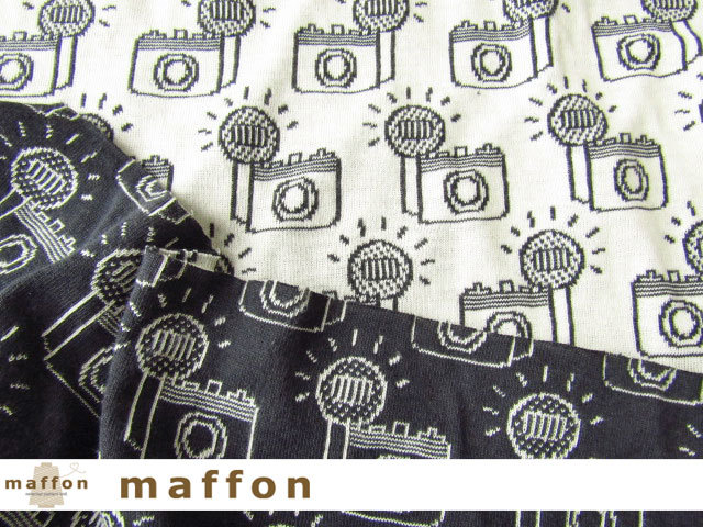 【 maffon (マフォン) 】 約75cm幅 リバーシブルジャガード接結ニット 『 フラッシュ柄 』  ダークチャコール/アイボリー