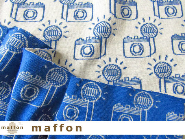 【 maffon (マフォン) 】 約75cm幅 リバーシブルジャガード接結ニット 『 フラッシュ柄 』  ブルー/アイボリー