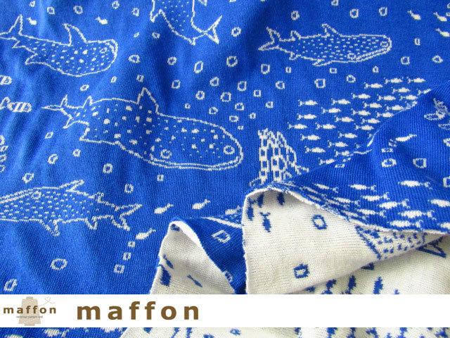 【 maffon (マフォン) 】 約75cm幅 リバーシブルジャガード接結ニット 『 ジンベイザメ柄 』 ブルー/アイボリー