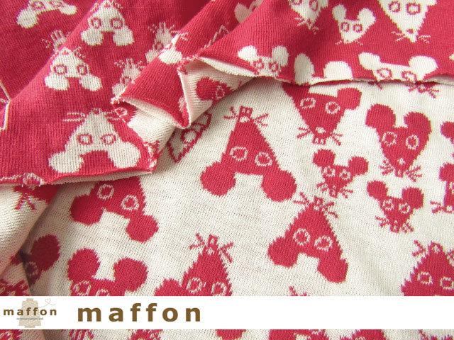 【 maffon (マフォン) 】 約75cm幅 リバーシブルジャガード接結ニット 『 マウス柄 』 ルージュ/アイボリー