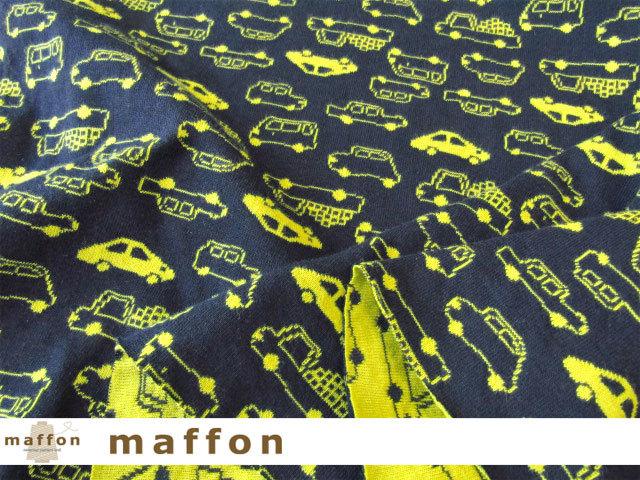 【 maffon (マフォン) 】 約75cm幅 リバーシブルジャガード接結ニット 『 ミニカー柄 』 ネイビー/青りんご