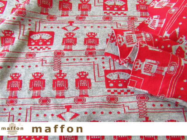 【 maffon (マフォン) 】 約75cm幅 リバーシブルジャガード接結ニット 『 ロボット柄 』 杢グレー/赤