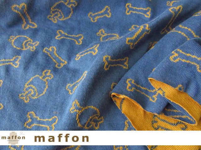 【 maffon (マフォン) 】 約75cm幅 リバーシブルジャガード接結ニット 『 アイラブボーン柄 』 ジェイブルー/コルク