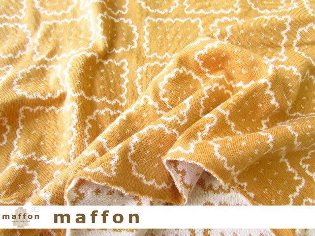 【 maffon (マフォン) 】 約75cm幅 リバーシブルジャガード接結ニット 『 クッキーボックス柄 』  コルク/アイボリー