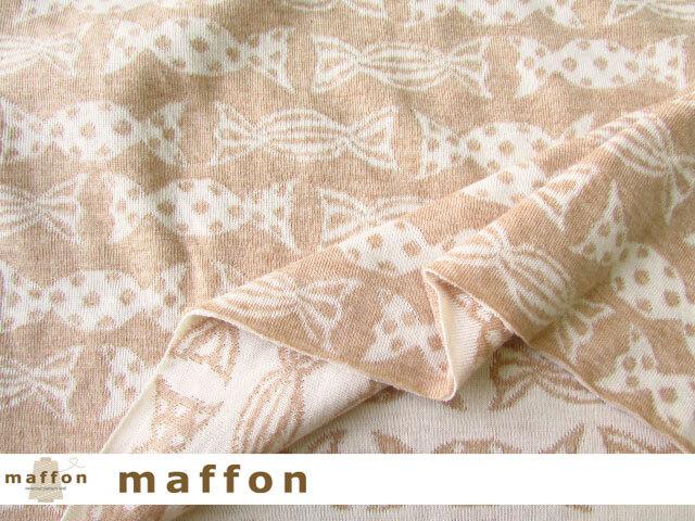 【 maffon (マフォン) 】 約75cm幅 リバーシブルジャガード接結ニット 『キャンディ柄 』 オーガニックくるみ/アイボリー