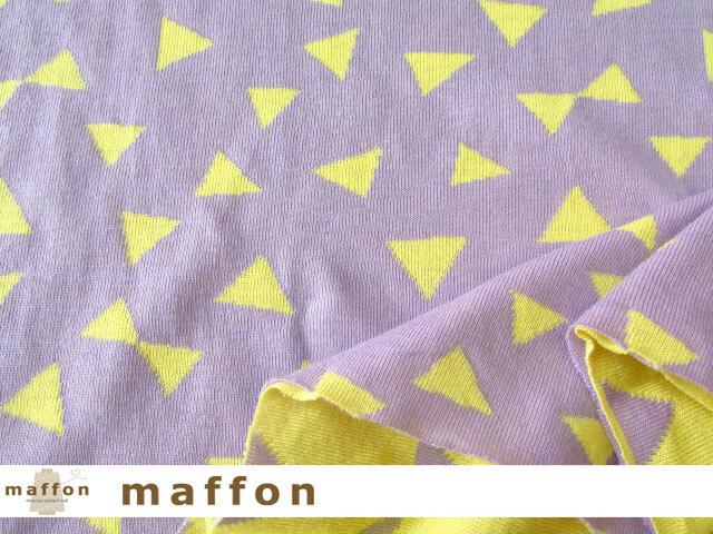 【 maffon (マフォン) 】 約75cm幅 リバーシブルジャガード接結ニット 『 パーティークラッカー柄 』 ラベンダー/レモン
