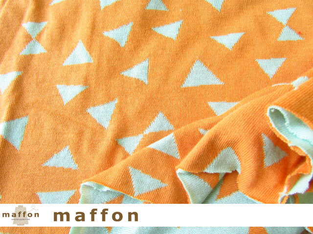 【 maffon (マフォン) 】 約75cm幅 リバーシブルジャガード接結ニット 『 パーティークラッカー柄 』  ミント/マリーゴールド
