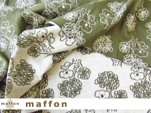 【 maffon (マフォン) 】 約75cm幅 リバーシブルジャガード接結ニット 『 コアラ柄 』  カーキ/アイボリー