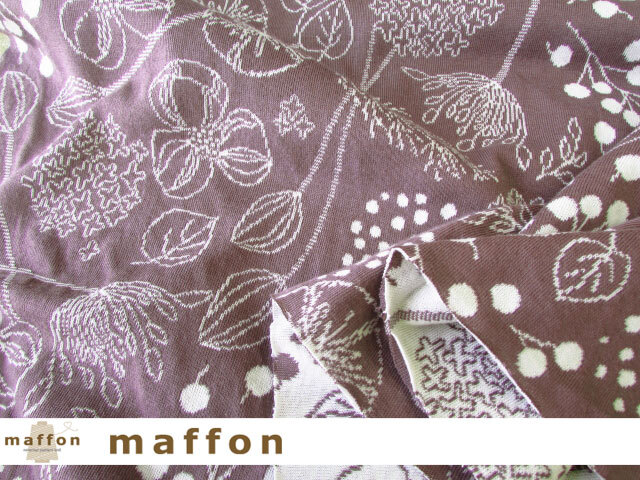 【 maffon (マフォン) 】 約75cm幅 リバーシブルジャガード接結ニット 『フロリスト柄 』  モーブ/アイボリー