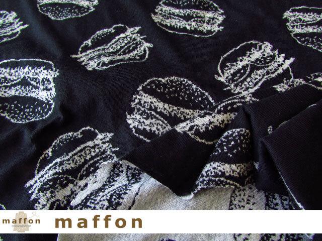【 maffon (マフォン) 】 約75cm幅 リバーシブルジャガード接結ニット 『 ハンバーガー柄 』 黒/杢グレー