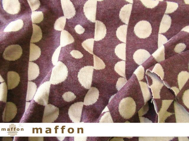 【 maffon (マフォン) 】 約75cm幅 リバーシブルジャガード接結ニット 『 リックラック柄 』 杢ボルドー/フレンチピンク