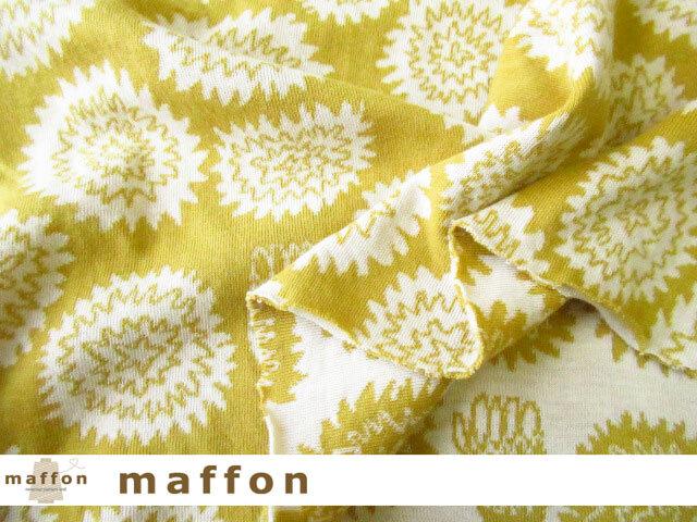【 maffon (マフォン) 】 約75cm幅 リバーシブルジャガード接結ニット 『マリーゴールド柄 』  ミモザ/アイボリー