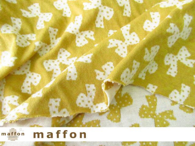 【 maffon (マフォン) 】 約75cm幅 リバーシブルジャガード接結ニット 『 ドットリボン柄 』  ミモザ/アイボリー