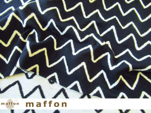 【 maffon (マフォン) 】 約75cm幅 リバーシブルジャガード接結ニット 『 ジグザグステッチ柄 』  黒/アイボリー