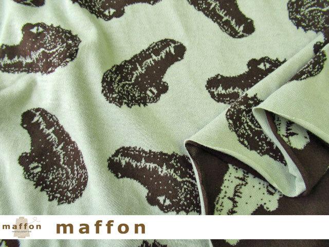 【 maffon (マフォン) 】 約75cm幅 リバーシブルジャガード接結ニット 『 クロコダイル柄 』  チョコレート/オフミント