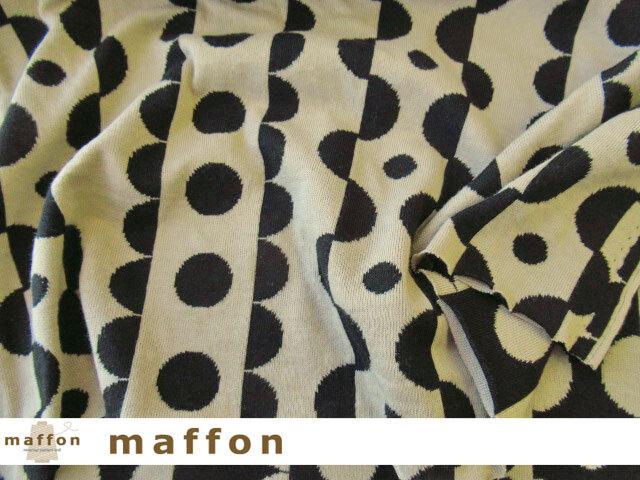 【 maffon (マフォン) 】 約75cm幅 リバーシブルジャガード接結ニット 『 リックラック柄 』 黒/ベージュ