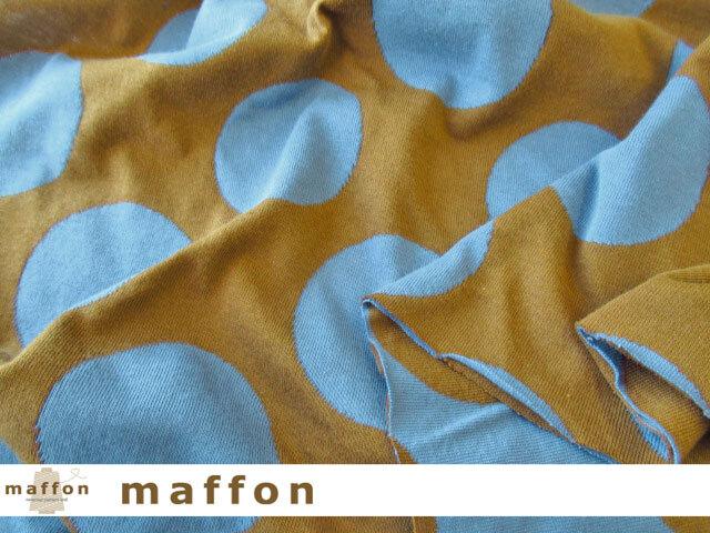 【 maffon (マフォン) 】 約75cm幅 リバーシブルジャガード接結ニット 『 インパクトドット柄 』  シナモン/デニム