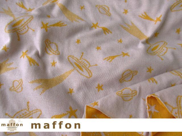 【 maffon (マフォン) 】 約75cm幅 リバーシブルジャガード接結ニット 『 UFO柄 』 シルバーグレー/ターメリック