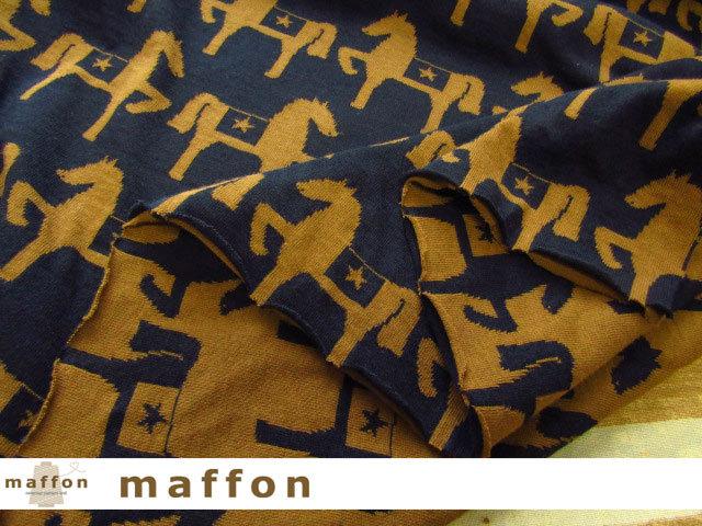 2回目の再入荷! 【 maffon (マフォン) 】 約75cm幅 リバーシブルジャガード接結ニット 『 馬柄 』 ネイビー/シナモン
