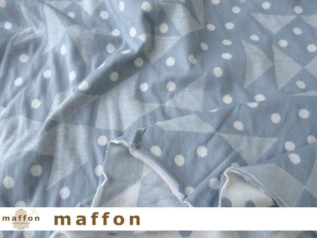 【 maffon (マフォン) 】 約75cm幅 リバーシブルジャガード接結ニット 『 パスル柄 』  フラスコ/アイボリー