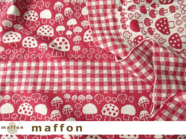 【 maffon (マフォン) 】 約75cm幅 リバーシブルジャガード接結ニット 『 マッシュルーム柄 』  ルージュ/アイボリー