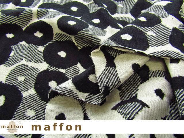 【 maffon (マフォン) 】 約75cm幅 リバーシブルジャガード接結ニット 『 デイジー柄 』 黒/アイボリー