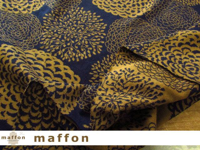【 maffon (マフォン) 】 2回目の再入荷!約75cm幅 リバーシブルジャガード接結ニット 『 ダリア柄 』 ネイビー/シナモン