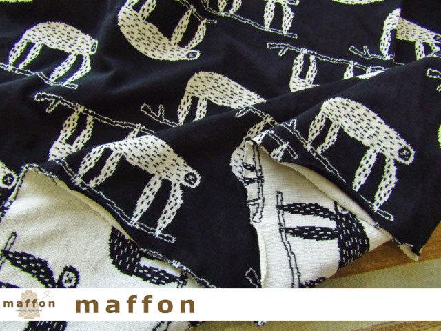 【 maffon (マフォン) 】 約75cm幅 リバーシブルジャガード接結ニット 『 なまけもの柄 』 黒/アイボリー