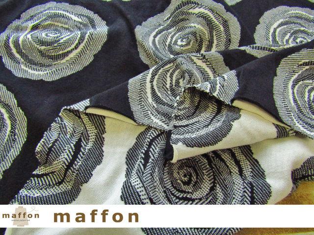 【 maffon (マフォン) 】 約75cm幅 リバーシブルジャガード接結ニット 『 イングリッシュローズ柄 』 黒/アイボリー