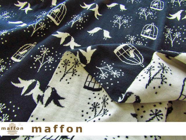 【 maffon (マフォン) 】 約75cm幅 リバーシブルジャガード接結ニット 『 ハミングバード柄 』 ネイビー/アイボリー