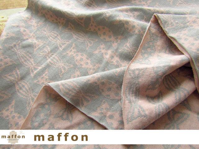 【 maffon (マフォン) 】 約75cm幅 リバーシブルジャガード接結ニット 『キャンディ柄 』 アッシュ/フレンチピンク