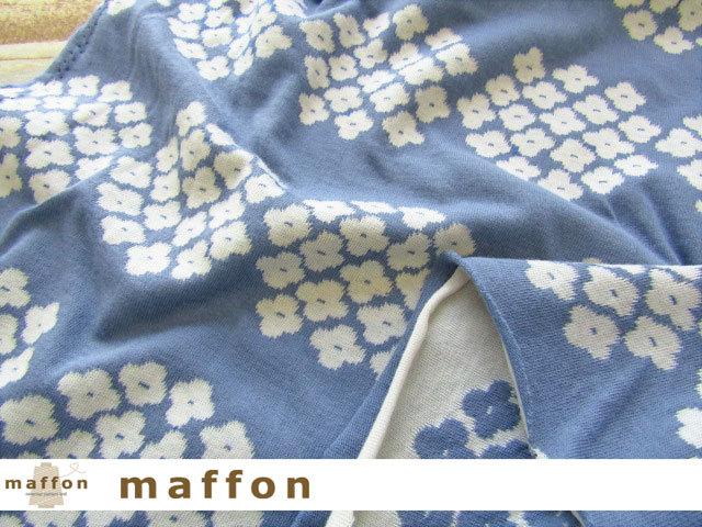 【 maffon (マフォン) 】 約75cm幅 リバーシブルジャガード接結ニット 『 アナベル柄 』 デニム/アイボリー