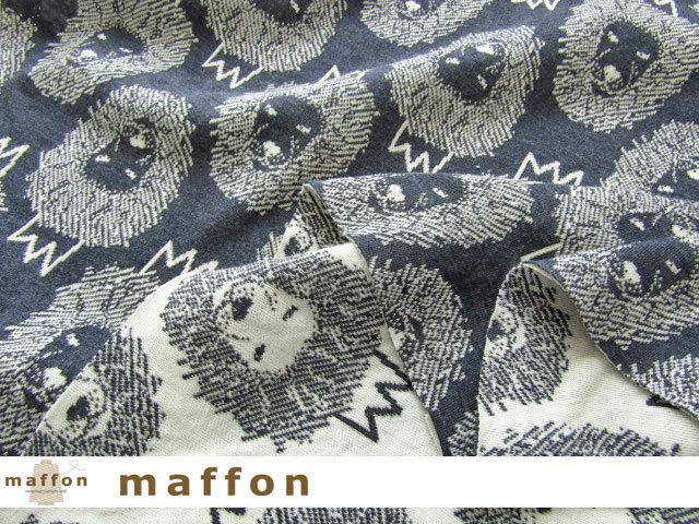 【 maffon (マフォン) 】 約75cm幅 リバーシブルジャガード接結ニット 『 ライオン柄 』 杢ネイビー/アイボリー