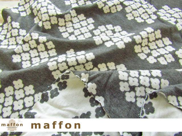 【 maffon (マフォン) 】 約75cm幅 リバーシブルジャガード接結ニット 『 アナベル柄 』杢グレー/アイボリー