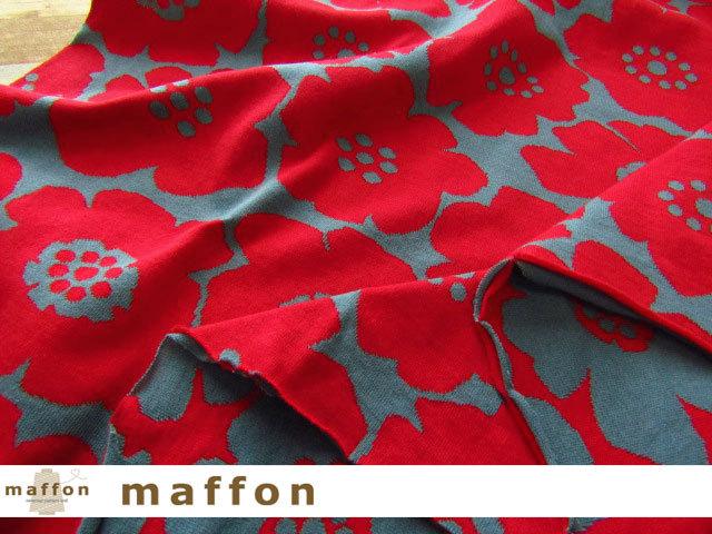 【 maffon (マフォン) 】2回目の再入荷! 約75cm幅 リバーシブルジャガード接結ニット 『 アネモネ柄 』  アイアングリーン/レッド