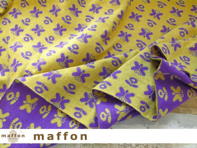 【 maffon (マフォン) 】 約75cm幅 リバーシブルジャガード接結ニット 『 ちょうちょ柄 』  パープル/ミモザ